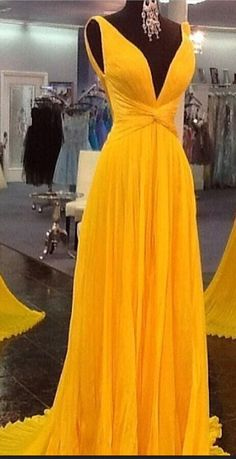 #yellow #chiffon #prom #party #evening #dress #dresses #gowns #cocktaildress…