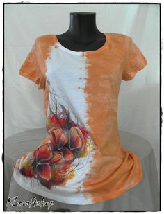 Original hand painted and tie dyed orange women by KLcraftshop