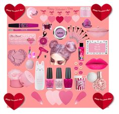 """Pink Valentine's Day"" by tay-mac on Polyvore featuring beauty, Sephora Collection, Elizabeth Arden, OPI, Barry M, Burberry, Too Faced Cosmetics, Eos, Sara Happ and NARS Cosmetics"