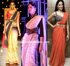 5 Ways to belt up your desi outfits – South India Fashion Blouse Designs Catalogue, New Blouse Designs, Bridal Blouse Designs, Saree Draping Styles, Saree Styles, Blouse Styles, Lengha Blouse Designs, Blouse Patterns, Saree With Belt