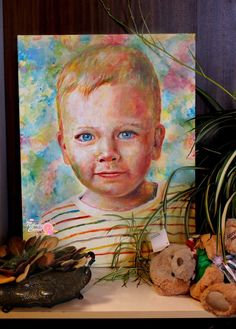 Painting portrait  Blue eyes Acrylic on canvas
