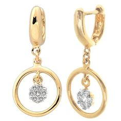 Sterling Silver Yellow Tone Diamond Dangle Earrings (.15 cttw, H-I Color, I1-I2 Clarity) Amazon Curated Collection. $172.00. Made in India. Save 42% Off!