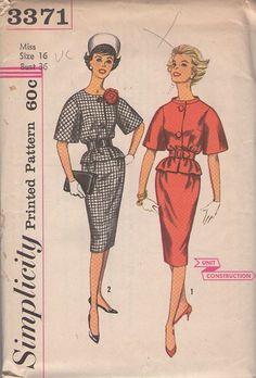 Vintage 60's Bell Sleeve Bloused Jacket Top, Slim Sheath Skirt, 2 Piece Dress