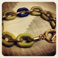 goldtone green and blue bracelet by {Houndstooth and Nail}