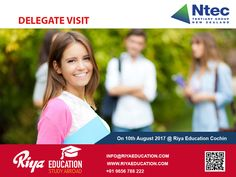 Ntec Tertiary Group, New Zealand Delegate Visit at Riya Education Cochin on 10th August 2017. Meet the delegate Mr.Raghuram for Spot Admission. Visit our website http://riyaeducation.com/contact/