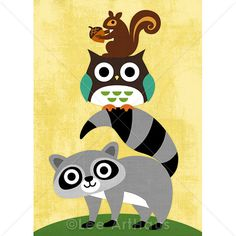 120B Bright Owl Raccoon and Squirrel Print 5x7 by leearthaus, $15.00
