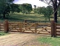 Australia's large sheep and cattle stations require wide entries to move the livestock in and out. The best way to close these, yet still retain style and character, is a set of double 'Station Series' gates.  #gates #woodengates #authenticgates