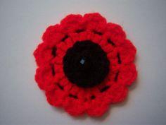 Vintage style poppy brooch. Handmade crochet. Alternative. Remembrance Day. Crochet Poppy, Crochet Flowers, Poppies For Sale, Brooches Handmade, Handmade Gifts, Poppy Brooches, Purple Poppies, Unique Crochet, Leaf Garland