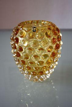 il9°° Murano gelbe Glas Vase LENTI, SEGUSO, sommerso, Noppenvase, Nuppenvase