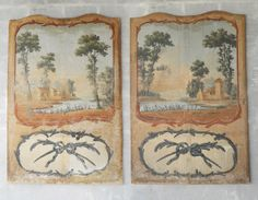 Pair of 18th C Painted Panels.