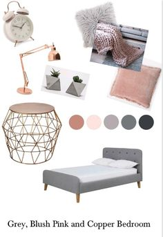 Grey, Blush Pink and Copper Bedroom - - Grey, Blush Pi Blush And Copper Bedroom, Blush Pink And Grey Bedroom, Blush Bedroom Decor, Pink Room, Bedroom Themes, Copper Bedroom Decor, Blush Grey Copper, Bedroom Ideas, Copper And Pink