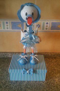 Fofucha cigüeña azul.
