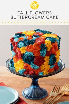 Create a fabulous (and edible!) fall flower arrangement with this Fall Flowers Buttercream Cake. Decorated with a variety of colored buttercream rosettes and stars, this fall cake features bold icing colors in fun, textured designs. A beautiful cake for a Wilton Cakes, Pretty Cakes, Beautiful Cakes, Amazing Cakes, Mini Cakes, Cupcake Cakes, Bolo Halloween, Frosting Colors, Bundt Cakes