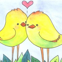 These little love birds need a home! Love Birds Original Watercolor Painting Yellow by ViridianMuse, $15.99