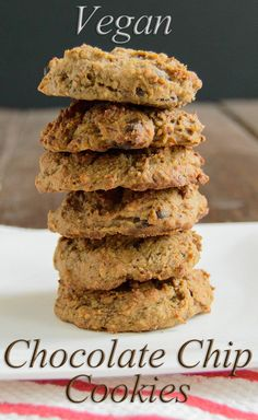Vegan Chocolate Chip Cookie Recipe - low fat, gluten free, high protein cookies. Only 65 calories in each cookie!