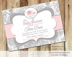 I like the look of these! I wonder if you could add blue in there somehow?? Elephant Baby Shower Invitation - Pink Gray Grey, Shimmer Pink Elephant - Baby Girl - Pink Grey Shower, Printable Invitation Design - UPrint