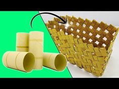 Ecobrisa Manualidades: Cesta original hecha con Tubos de Cartón Toilet Roll Craft, Toilet Paper Roll Art, Rolled Paper Art, Toilet Paper Roll Crafts, Paper Crafts Origami, Cardboard Crafts, Diy Paper, Recycled Art Projects, Upcycled Crafts