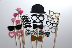 Photo Booth Props - 23 Piece Photobooth Party Set Perfect for any Event