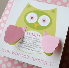 Owl birthday invite with flappy wings!  Cute!