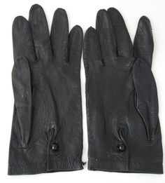 Italian Black Leather Gloves For Macys Glass by RuthsBargains