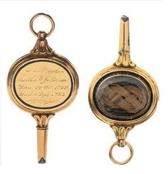 Thomas Jefferson's gold pocket watch, approx. ca. 1782. The watch is dedicated to his wife and contains a lock of his wife's hair. The inscription reads: Martha W. Jefferson Born 19 Oct. 1748, Died 6 Sept. 1782.