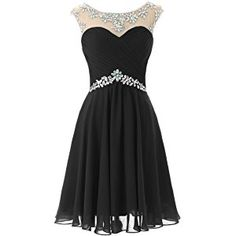 Dresstells Women's Chiffon Sexy Scoop Ruffles Empire Line Open Back Short Beaded Evening Dress