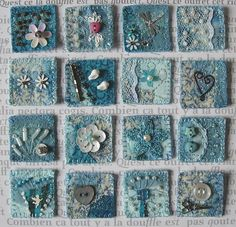 Mixed media sewing and textiles inchies Beaded Embroidery, Embroidery Stitches, Hand Embroidery, Freehand Machine Embroidery, Embroidery Patterns, Fabric Art, Fabric Crafts, Sewing Crafts, Textiles