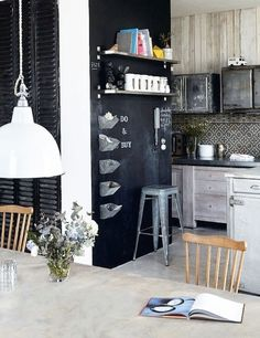 myidealhome:   chalkboard list (via kitchens-sfgirl)  I love the backsplash
