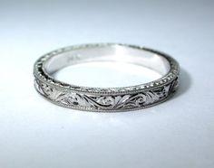 Hand Engraved 14k White Gold Wedding Band / Ring. 3 mm width. Bridal. Engagement.. $425.00, via Etsy.