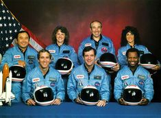 The Space Shuttle Challenger Disaster:  28 January 1986.  One for the shuttle crew members was Christa McAuliffe ~ the first teacher in space. Left to right: (front row) Michael J. Smith, Dick Scobee, Ronald McNair; (back row) Ellison Onizuka, Christa McAuliffe, Gregory Jarvis, Judith Resnik.  All crew members perished.