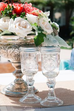 Mason jar goblets at a Horse Barn Wedding.  Wonderful pics/ideas for a cool wedding!