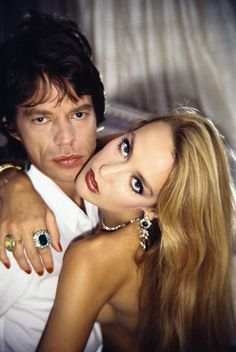Jerry Hall and Mick Jagger by noelle