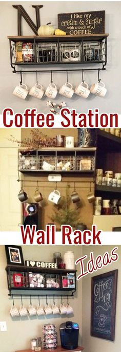 Home Coffee Bars and Kitchen Coffee Station Ideas - Love this coffee bar shelf with hooks #coffeebarideas #homecoffeebars #homecoffeestations #coffeestations #coffeestationkitchen #kitchenideas #ideasforthehome #diyhomedecor