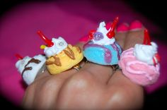 cotton candy ice cream scoop ring by chippednailpolish on Etsy, $5.00