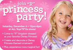 TOYS R US $$ FREE Princess Party Event on 12/6!