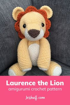 Crochet Amigurumi Ideas Laurence the Lion Free Amigurumi Pattern - He may be king of the jungle, but Laurence is the sweetest lion you'll ever meet. His defining characteristics are his big brown nose and adorable scallop mane. Lion Crochet, Crochet Amigurumi Free Patterns, Crochet Animal Patterns, Stuffed Animal Patterns, Cute Crochet, Crochet Animals, Crochet Crafts, Crochet Dolls, Crochet Projects