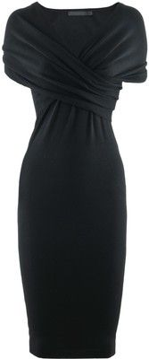 Donna Karan Black Wrap Cashmere Dress