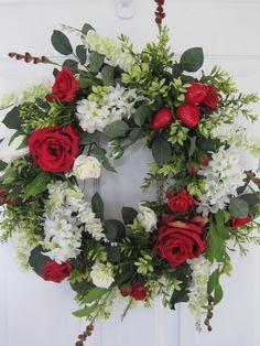 STRAWBERRY TEA ROSE- Country Spring- Summer Arrangement- Door Wreath- Free Shipping