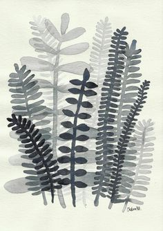 Fern Fronds no. 05 - Original Small Ink Painting More