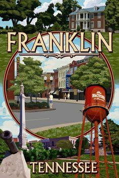 Franklin, Tennessee - Montage - Lantern Press Poster