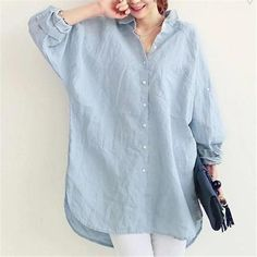 vogorsean womens blouses shirt spring summer blusas office lady elegant loose tops and blouses white casual linen women - Blue XXL Blouse En Lin, Blouse Dress, Collar Blouse, Blue Blouse, Bluse Outfit, Inspiration Mode, Spring Shirts, Loose Shirts, White Casual