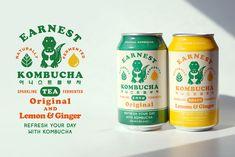 EARNEST KOMBUCHA on Behance Beer Packaging, Beverage Packaging, Print Packaging, Vintage Packaging, Kombucha, Graphic Design Branding, Graphic Design Illustration, Logo Design, Cafe Design