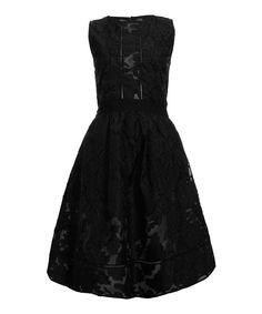 Perseverance London Black Floral Devore Sleeveless Dress   Womenswear   Liberty.co.uk