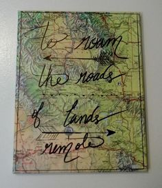 Travel Quote Wall Decor Hand Lettered On Map On by ReiBugStyles