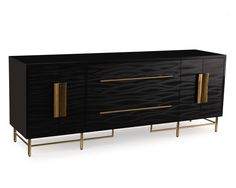The Moonlight Credenza by Mark McDowell for John-Richard.The doors and drawers of this sideboard are faced with kazan black, a holistic laminate with stainless steel brass plated handles. The case is finished in high gloss black and stands on a stainless steel brass finished base.