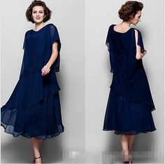 2016 Elegant Navy Blue Chiffon Mother Of The Bride Dress Short Sleeves Ankle Length Tiered Women Formal Evening Gown Prom Party Wears Cheap Mother Of The Groom Dress Grandmother Of The Bride Dresses From Whiteone, $98.63| Dhgate.Com