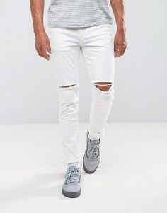 Antioch Ripped Skinny Jeans in White - White