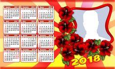 Lindo Calendario 2018 com Flores. Faça o Seu c/Foto!