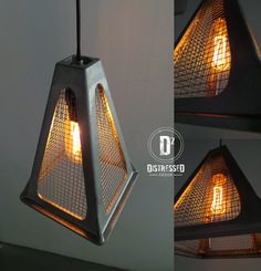 The pendant light is made from a repurposed trailer jack and salvaged mesh wire. This would be a great look in an industrial space, or bring a modern touch into any home. This pendant light is 9