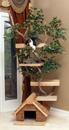 Lifelike Mature Large Cat Tree Houses--Paul needs to build this for Mr Bean